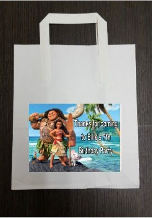 4 x Moana Birthday Party Bags with Personalised Sticker